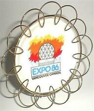 DISH PLATE EXPO 1986 86 VANCOUVER CANADA & BRASS STAND GEODESIC DOME