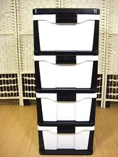4 Drawer Filing Cabinet Unit Plastic Storage White Office Furniture Stationary