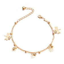 Rhinestone Beads Anklet Foot Chain Shan Chic Two Layer Dragonfly Rose Flower
