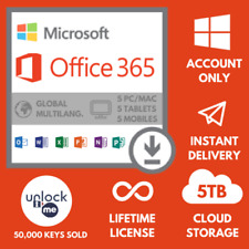 Microsoft office 365 2019 Pro Plus License Account For 5 Device 5 TB Cloud