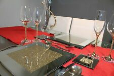 New Set of 4 Mirrored Place Mats With Gold Glitter Sparkle Dining Table Mat