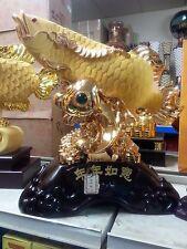 """23""""LChinese Dragon Arowana Fish Statues"""