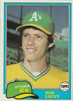 FREE SHIPPING-MINT-1981 Topps Bob Lacey Oakland A's 481 PLUS BONUS CARDS