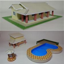 1:87 Paper Model Kit in PDF files to print with Country House,Pool,Well,Cottage