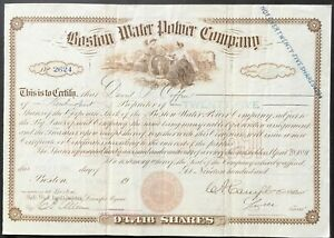 BOSTON WATER POWER COMPANY Stock 1906. Massachusetts. Founded 1832. ABNC