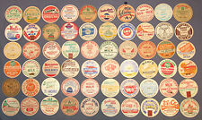 Lot of 60 Vintage Milk Dairy Bottle Caps all Named Dairies all Different Caps