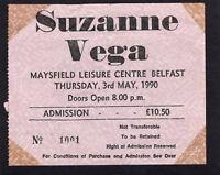 1990 Suzanne Vega Concert Ticket Stub Belfast UK
