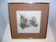 "Danish Mads Stage '76 ""Natugle"" Tawny Owl Signed Pencil Watercolor Print 1976"