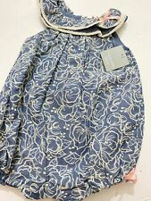 Nwt Tahari Baby Girls Denim Blue Embroidered One Piece Outfit Size 3-6M