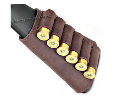 """Retro"" Style Leather Shotgun Shell Cartridge Buttstock Holder - Holds 6 shells"