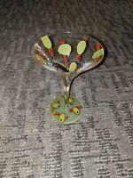 LOLITA 'Dirty Martini' LOVE MY MARTINI 10 oz Hand Painted Martini Glass PERFECT