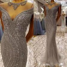 Luxury Crystal Mermaid Pageant Prom Gown Celebrity Party Evening Formal Wear New