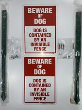 """Beware of Dog Sign Dog Is Contained By An Invisible Fence (Set of 2) 10"""" x 7"""""""