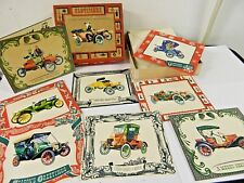 Vtg Old Timers Artistic Card Christmas Card Old Time Automobiles Set w/ Box