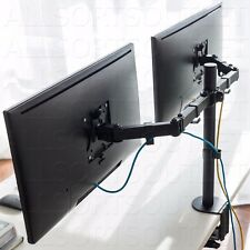 DOUBLE MONITOR MOUNT CLAMP STAND DUAL TWIN LCD ARM ADJUSTABLE 2 SCREENS 15-27""