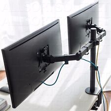 DOUBLE MONITOR CLAMP STAND MOUNT DUAL TWIN LCD ARM ADJUSTABLE 2 SCREENS 15-27""