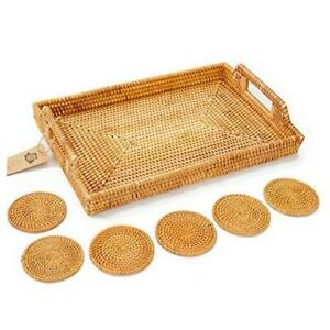 Rattan Tray with Rattan Coasters - Premium Flat Rectangular Large Honey Brown