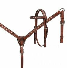 Showman MINI Horse Size Crystal RHINESTONE Leather Bridle BreastCollar Rein SET