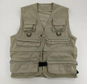 Mens Outdoor Hunting Fishing Vest Beige Multiple Zip Pockets Adjustable Size L