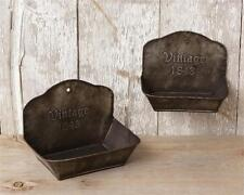 New SET 2  VINTAGE 1843 SOAP DISH Container Shelf Metal Holder Primitive Country