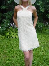 VTG. 70s Ivory Lace Halter Backless Dress w A-line Wedding Beach - w Bow