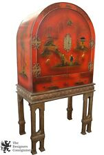 Early 20th C. Chinese Red Lacquer Dry Bar Cabinet Giltwood Stand Buffet Bookcase