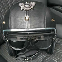 Open Face Motorcycle Helmet Vintage PU Leather Half 3/4 Cruiser Scooter Helmet L