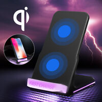 10W Fast Charging Dock Qi Wireless Charger Phone Stand LED For iPhone Samsung