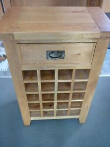 Oak Furniture Land Wine Cabinet Rack with Draw Pre Owned COLLECTION ONLY PR8