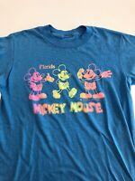 Vintage 80s 90s Disney World Mickey Mouse FL T Shirt S Neon Single Stitch Blue