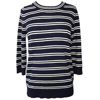 J. Crew 100% Cashmere Striped Crewneck Sweater Navy Blue Long size - Small