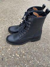 Frye Natalie Lace Up Black Leather Boots Size 6 Moto Combat Women's