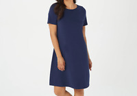 A376913 Denim & Co. Essentials Jersey Bateau Neck Dress NAVY M-245