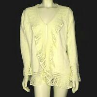 New Storybook Knits Womens L Cardigan Sweater Ivory Knit Lacework Ruffle