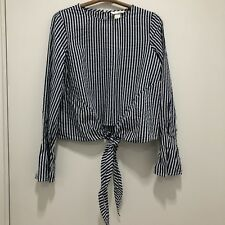 Women's New with Tags H&M Tie Front Blouse with Flared Sleeves in Denim Blue/Whi