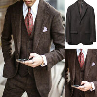 3Piece Mens Suits Herringbone Tweed Notch Lapel Formal Business Wedding Blazers