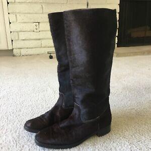 Manolo Blahnik Brown Fur Boots sz 39 Knee High
