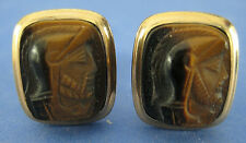 Cufflinks Two Tone Carved Men in Helmets Polished 12k Gold Filled Vintage