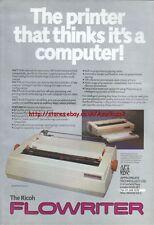 "The Ricoh Flowriter ""Vintage Hardware"" 1983 Magazine Advert #5093"