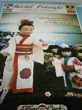 '89 Fibre Craft World Friends Ethnic Doll No-Sew Pattern Japanese Kimonos Felt