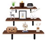 Set of 3 Floating Shelves Wall Mounted Rustic Wood Wall Display Shelf Bookshelf