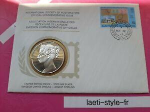 G08102 cp enveloppe timbre medaille argent 1976 cayman receveur poste 1er jour