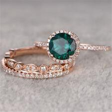 3Pcs/Set Emerald Birthstone 925 Silver Women Wedding Engagement Ring Sz 6-10