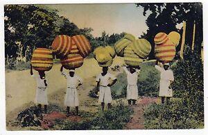 HAITI PC Postcard CARIBBEAN Women Selling Baskets PORT AU PRINCE 1952