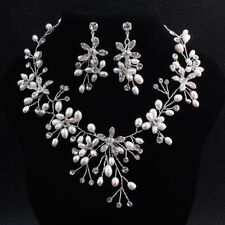 Wedding Necklace and Earring Set Beaded Bridal Accessories Pearl Floral Necklace