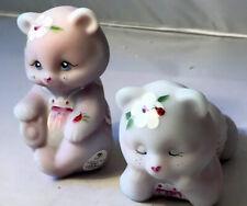 2 FENTON Glass Bears- Purple/Pink Satin Burmese  w/Ladybug ~ 100yrs Hand painted