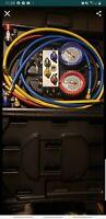 "Mastercool 86961 R134a 4-Way Manifold 3 1/8"" Gauge Set w/4-60"" hoses"