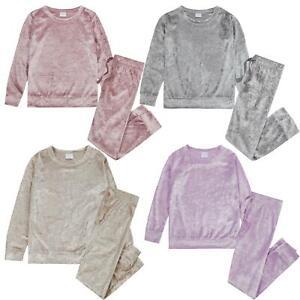 Girls Crushed Velvet Lounge Set Kids Tracksuit Sweatshirt Jumper Jogging Bottoms