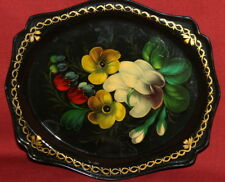 Vintage Soviet Russian Hand Painted Floral Metal Tray