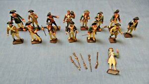 """Vtg TOY SOLDIER CAST METAL HAND PAINTED SET OF 15 2.6"""" Rare TC Weapons Military"""